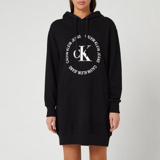 Calvin Klein Jeans Women's CK Round Logo Hooded Knit Dress