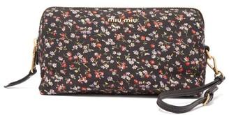 Miu Miu Logo-plaque Floral-print Wash Bag - Black Multi