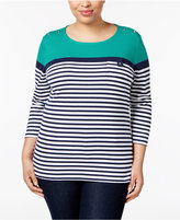 Karen Scott Plus Size Striped Top, Only at Macy's