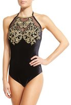 Gottex Velvet High-Neck One-Piece Swimsuit