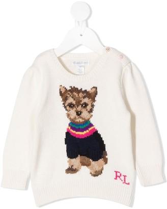 Ralph Lauren Kids Puppy Print Knit Jumper
