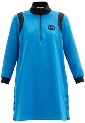 Gucci GG Logo-applique Technical-jersey Dress - Blue