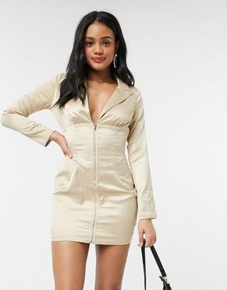 In The Style light gold satin corset waist mini dress