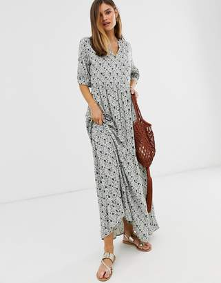 Y.A.S floral short sleeve maxi smock dress-Multi