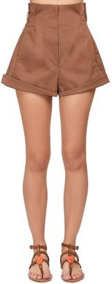 Alberta Ferretti High Waist Stretch Gabardine Shorts