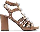 Balenciaga Studded Leather Sandals - Brown
