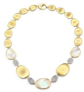 Marco Bicego Women's Lunaria 18K Yellow Gold, Mother-of-Pearl & Diamond Pavé Station Necklace