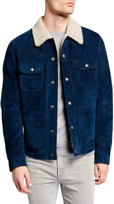 Tom Ford Men's Suede Trucker Jacket w/ Shearling Fur Trim