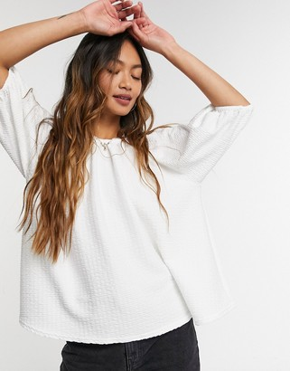 ASOS DESIGN trapeze textured smock top in white
