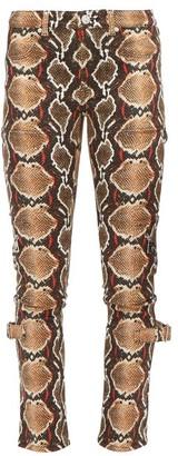Burberry Ozie Python-print Skinny Jeans - Beige Multi