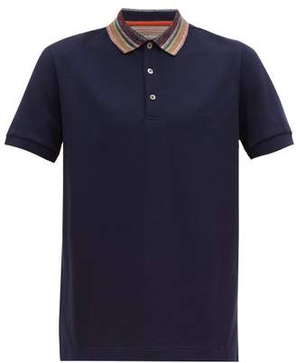 Missoni Space Dyed Collar Cotton Pique Polo Shirt - Mens - Navy Multi