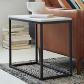 west elm Box Frame Narrow Side Table - Marble/Antique Bronze