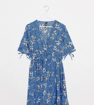 Influence Tall wrap front mini dress in cornflower blue floral spot