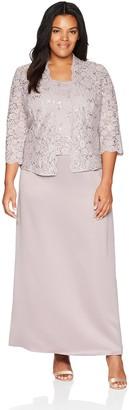Alex Evenings Women's Plus-Size Two Piece Long Lace Jacket Dress