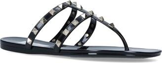 Valentino Garavani Leather Rockstud Thong Sandals
