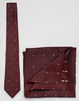 Asos Polka Dot Tie And Pocket Square Set