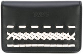 Tod's contrast embroidered wallet - women - Calf Leather - One Size