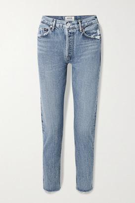 AGOLDE Jamie Cropped Frayed Organic High-rise Straight-leg Jeans - Mid denim