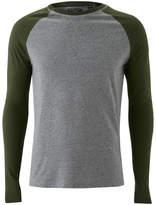 Brave Soul Men's Osbourne Raglan Long Sleeve Top - Mid Grey/Khaki