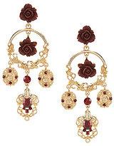 Natasha Accessories Rose Statement Chandelier Earrings