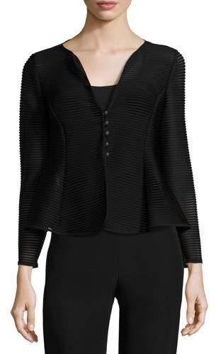 Armani Collezioni Ottoman Jersey Button Jacket, Black