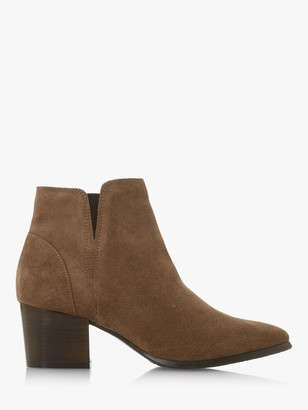 Dune Payge Suede Mid Block Heel Ankle Boots, Taupe