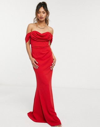 Goddiva bardot ruched maxi dress in red