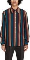 Lemaire Striped Viscose Large Collar Shirt