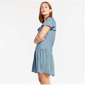 Joe Fresh Women's Drop Waist Dress, Medium Wash (Size XS)