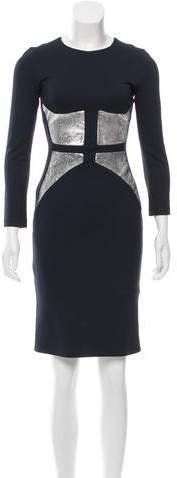 Cushnie et Ochs Leather-Paneled Stretch Knit Dress