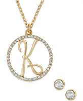 Charter Club Gold-Tone Crystal Initial Pendant Necklace and Stud Earring Boxed Set, only at Macy's