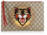 Gucci Sequin Angry Cat GG Supreme Pouch
