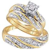 Silvernshine Jewels 1/3 Ct Sim.Diamond 14k Gold Fn Square Halo Engagement Ring His & Her Trio Set