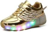 Fuiigo Wings LED Light Up Heelys Roller Skate Shoes Boys Girls Sneakers School Uniform