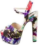 Brian Atwood Floral Platform Sandals