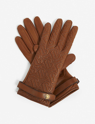 Burberry Logo-quilted leather gloves