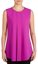 Peter Nygard Crew Neck Sleeveless Pleated Solid Blouse
