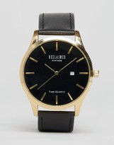 Reclaimed Vintage Leather Watch In Black & Gold