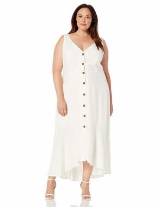 City Chic Women's Apparel Women's Plus Size Maxi Button Down Dress
