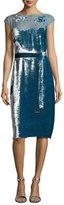 Bottega Veneta Devore Cap-Sleeve Belted Velvet Dress, Blue