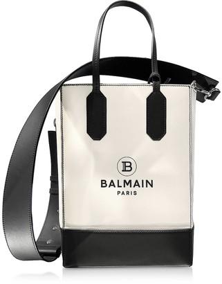 Balmain White & Black Printed Leather Shopping Bag