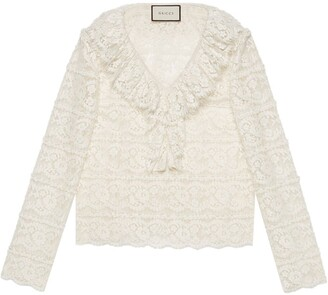 Gucci Ruffled Floral Lace Blouse