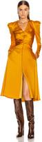 Jonathan Simkhai Ruched Front Sateen Dress in Turmeric | FWRD