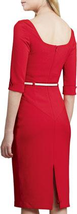 Black Halo Jackie Belted Sheath Dress, Red
