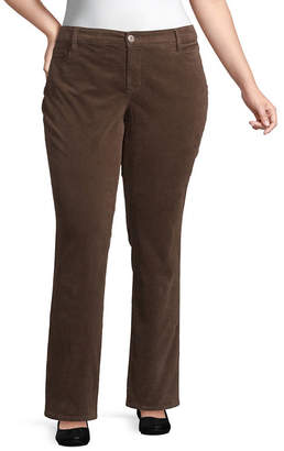 ST. JOHN'S BAY Womens Mid Rise Straight Corduroy Pant - Plus