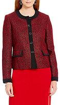 Kasper Petite Long-Sleeve Tweed Button-Front Jacket