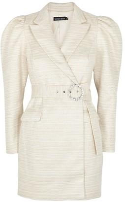 Lavish Alice Cream Boucle Tweed Blazer Dress
