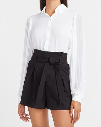 Express Super High Waisted Pleated Paperbag Shorts