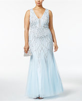 Xscape Evenings Plus Size Beaded Mesh Mermaid Gown