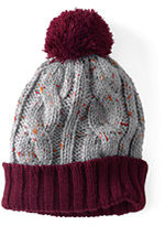 Classic Kids Donegal Cable Knit Hat-Ivory Multi Hearts